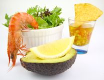 Prawn Salad Cocktail. Boiled Tiger Prawn Salad accompanied with Lemon,Avocado, Nachos and Salsa Stock Photography
