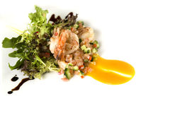 Prawn salad. Dish display on isolated white Royalty Free Stock Photography