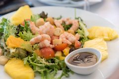 Prawn salad with pineapple served in Lisbon, Portugal Stock Images