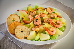 Prawn salad plate Royalty Free Stock Photo