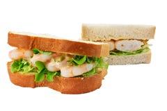 Prawn salad sandwich sliced bread Royalty Free Stock Photos