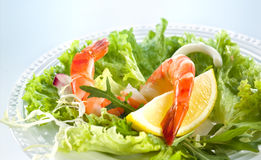 Prawn salad. Shrimp Salad with greens Stock Photos