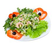 Prawn salad. Simple and healthy salad of shrimp. Royalty Free Stock Photos