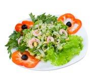 Prawn salad. Simple and healthy salad of shrimp. Royalty Free Stock Photos