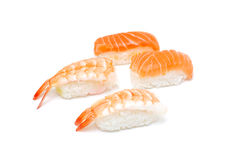 Prawn and salmon nigiri Royalty Free Stock Photos