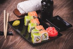 Prawn and salmon sushi roll Stock Images