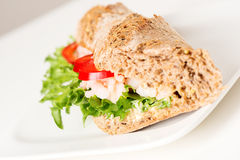 Prawn sandwich on white plate angled Royalty Free Stock Image