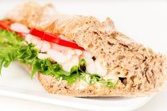 Prawn sandwich on white plate macro Stock Photos