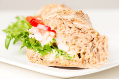 Prawn sandwich on white plate selective focus Stock Photography