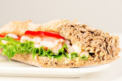 Prawn sandwich on white plate Royalty Free Stock Images