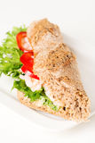 Prawn sandwich on white plate vertical angled Stock Photos