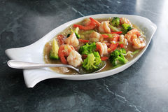 Prawn in sauce Royalty Free Stock Photography