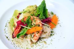 Prawn scallop escabeche Stock Image