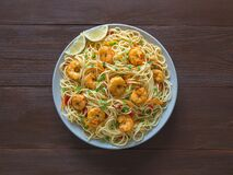Free Prawn Schezwan Noodles With Vegetables In A Plate Stock Image - 181415841