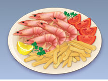 Prawn seafood feast. Illustration of a delicious meal of six prawns and french fries, garnished with lemon, parsley and tomato Royalty Free Stock Photos