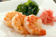 Prawn with seaweed and ginger Royalty Free Stock Photos