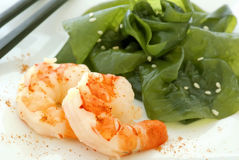 Prawn with seaweed salad Royalty Free Stock Image