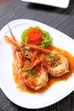 Prawn shrimp with sauce Stock Images