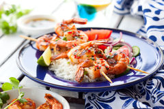Prawn skewers Stock Images