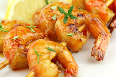 Prawn skewers royalty free stock image