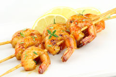 Prawn skewers Stock Image