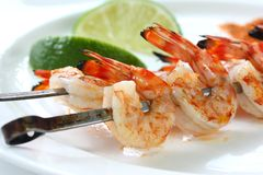 Prawn skewers , barbecued prawn royalty free stock photos