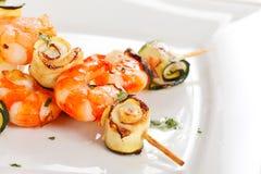 Prawn Skewers with vegetables Royalty Free Stock Image