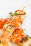 Prawn Skewers with vegetables Royalty Free Stock Photo