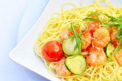 Prawn Spaghetti Stock Photos