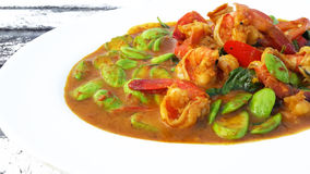 Prawn in spicy curry with sator Royalty Free Stock Images