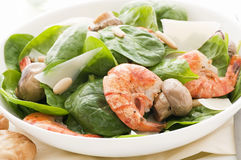 Prawn with Spinach Royalty Free Stock Photo