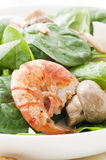 Prawn with Spinach Royalty Free Stock Image