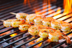 Prawn Spit On Grill Royalty Free Stock Photo