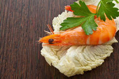 Prawn with a sprig of parsley Stock Photography