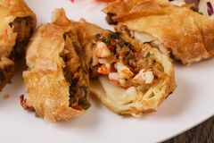 Prawn spring roll. With cabbage and carrots royalty free stock photography