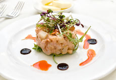 Prawn Starter. Gourmet Starter consisting of prawns,lettuce and diced potatoes Royalty Free Stock Photography