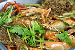 Prawn steam with vermicelli in the tray Stock Photos