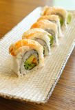 Prawn sushi roll Stock Image
