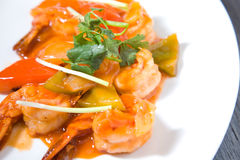 Prawn in sweet acid asian sauce Royalty Free Stock Photos