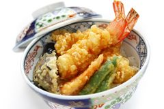 Prawn tempura bowl, japanese food Stock Images