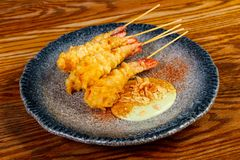 Prawn tempura snack. With sauce royalty free stock photography