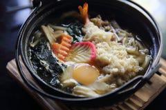 Prawn Tempura Udon Japanese food. In close up stock photography