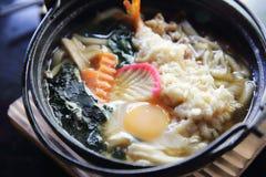 Prawn Tempura Udon Japanese food. In close up stock image