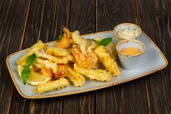 Prawn tempura with vegetables. And sauce stock photo