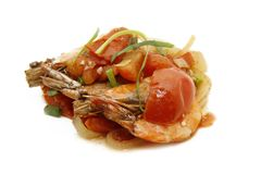 Prawn with tomato sauce Stock Images