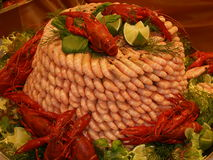 Prawn tower. Special prawn tower at the seafood table Stock Photo