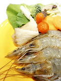 Prawn and Vegetable. Fresh Raw Prawn and Vegetable ready to cook Stock Photo