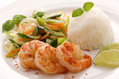 Prawn with Vegetable Stock Photography