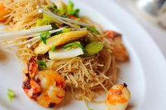 Prawn and vegetable noodles Royalty Free Stock Image