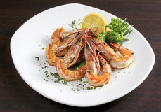 Prawn with vegetables Royalty Free Stock Photography